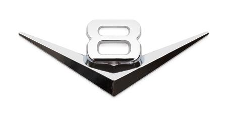 Chrome V8 Car Emblem Badge Isolated on White Background.