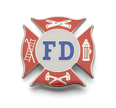 Fire Fighter Cross Badge Isolated on White Background.