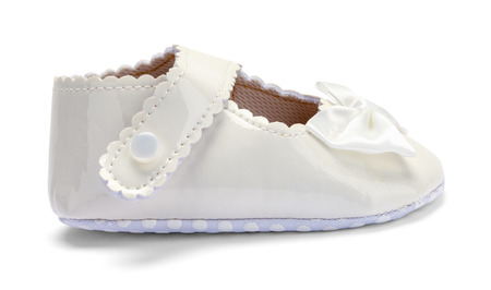 Girls Baby Dress Shoe Side View Isolated on White.