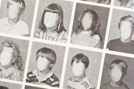 Grade School Year Book Page with Copy Space. Stock fotó