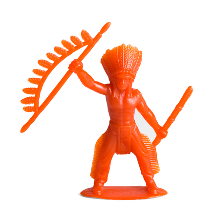 Red Plastic Inidian Toy Figure Isolated on White Background. Banque d'images