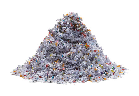 Pile of Shredded Paper Isolated on White Background.
