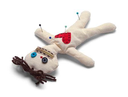 Voodoo Doll with Needles Upside Down Isolated on White Background. Stock fotó