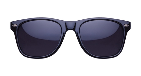 Black Shades Sunglasses Front View Cut Out on White. Stockfoto
