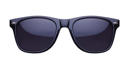 Black Shades zonnebril vooraanzicht uitgesneden op wit. Stockfoto
