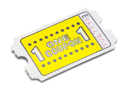 One Yellow Game Coupon Ticket Isolated on White.