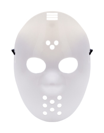 Halloween Costume Hockey Mask Cut Out On White.