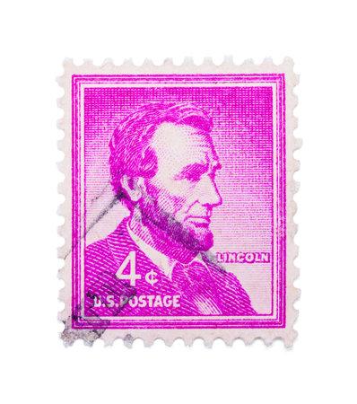 Abraham Lincoln Stamp Isolated on White Background. Editöryel