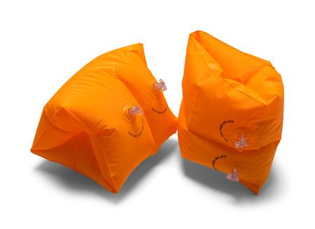 Two Orange Arm Swim Floats Isolated on White Background.