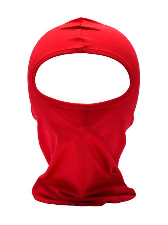 Red Ninja Mask Isolated on White Background. 스톡 콘텐츠