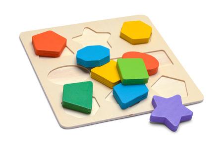 Kids Wood Block Shape Puzzle Isolated on White Background.