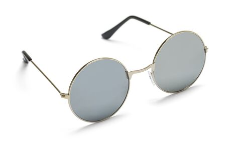 Round Wire Frame Sunglasses Isolated on White.