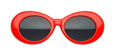 Red Retro Sun Glasses Front View Cut Out on White. Imagens