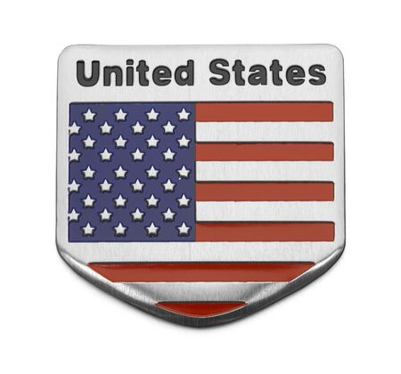 Metal USA Flag Shield Isolated on White.