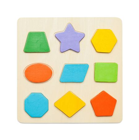 Toy Wood Block Puzzle Game Isolated on White Background.