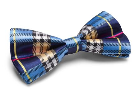 Blue Plaid Bow Tie Isolated on White.