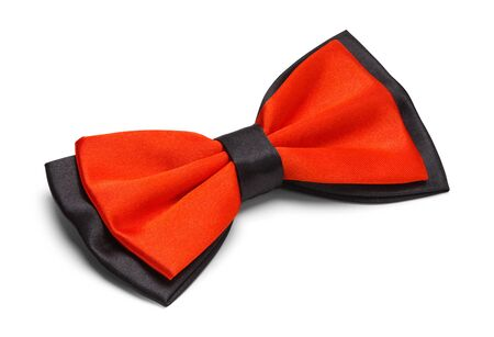 Red and Black Bow Tie Isolated on White Background. Stock Photo