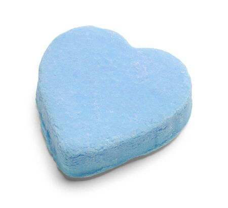 Blue Valentines Candy Heart Isolated on White. Фото со стока