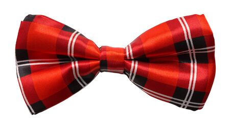 Red Plaid Bow Tie Cut Out On White. Banque d'images - 127058760