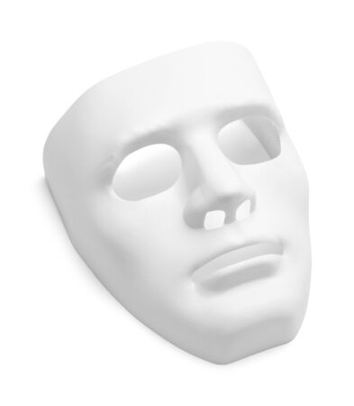 White Theater Mask Isolated on a White Background.
