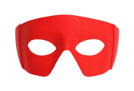Red Fabric Hero Mask Isolated on White. 스톡 콘텐츠