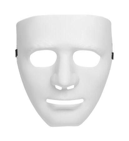 Máscara de teatro blanco aislado sobre un fondo blanco.