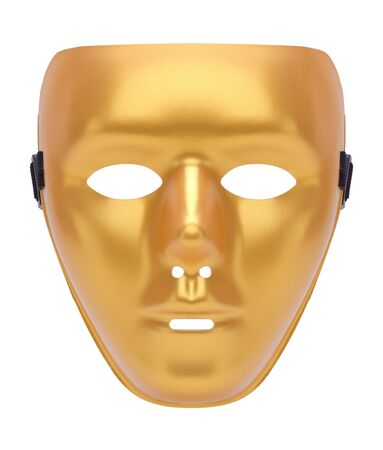 Gold Face Mask Cut Out on White. Stock Photo