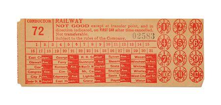 Vintage Train Ticket Isolated on White Background. Stock Photo