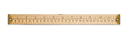 Old Wooden Ruler Isolated on White Background.