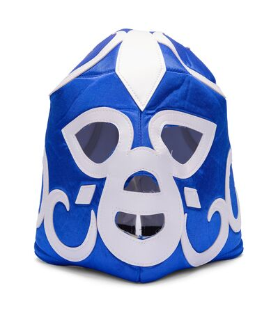 Blue Lucha Libre Mask Isolated on White Background.