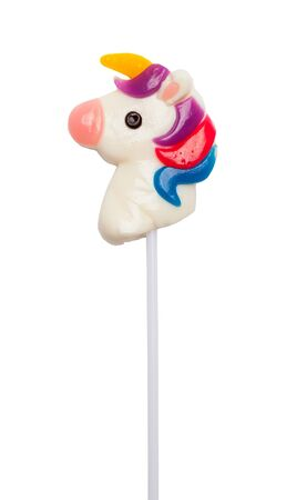 Unicorn Lollipop Sucker Isolated on White.