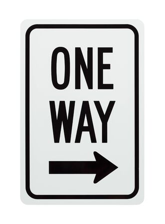 One Way Street Sign Isolated on White Background. Banque d'images - 128529103