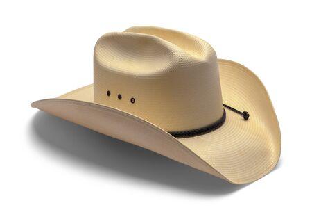 Viejo sombrero de vaquero aislado sobre fondo blanco. Foto de archivo