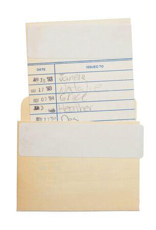 Tarjeta de biblioteca antigua aislada sobre fondo blanco.