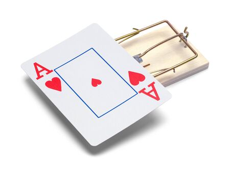 Mouse Trap with Red Ace Card Isolated on White.