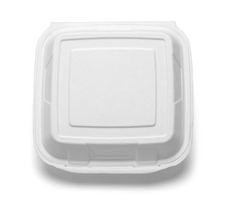 Fast Food Take Out Box Top View Isolated on White.