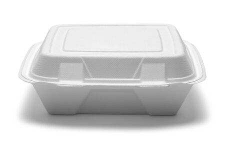Fast Food Take Out Box Front View Isolated on White. Banque d'images