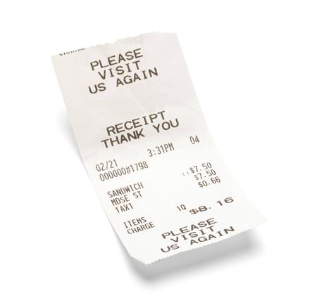 Reçu de sandwich de restauration rapide isolé sur blanc.