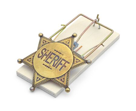 Mouse Trap with Sheriff Badge Isolated on White. Stock Photo - 130121885