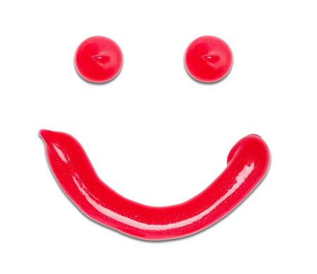 Red Toothpaste Happy Face with Smile Isolated on White.