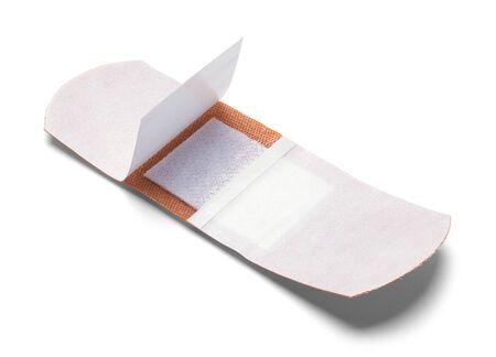 Open Adhesive Bandage Isolated on White Background. Foto de archivo