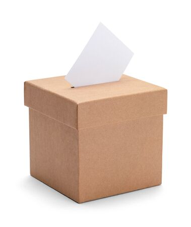 Small Brown Ballot Voting Box Isolated on White Background.