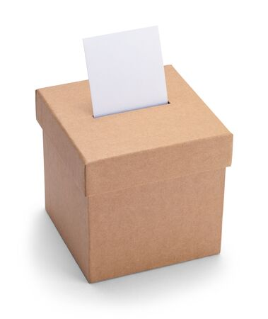 Small Brown Ballot Box Isolated on White Background.
