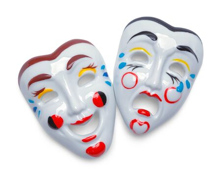 Comedy Tragedy Theater Movie Masks Isolated on White. Фото со стока