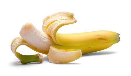 Opened Banana Isolated on a White Background.