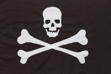 Black and White Cross Bones Pirate Flag Background.