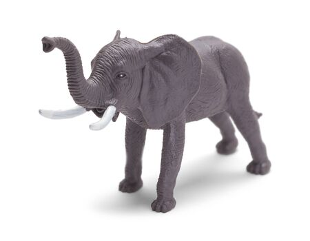 Grey Toy Plastic Elephant Front View Isolated on White Background.