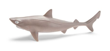 Grey Shark Toy Side View Isolated in White. Reklamní fotografie