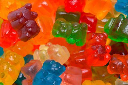 Pile of Candy Gummy Bears Background Close Up. Reklamní fotografie