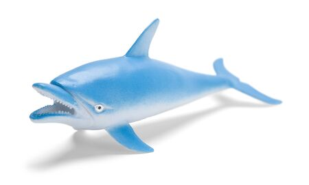 Blue Plastic Toy Dolphin Front View Isolated on White.